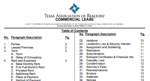 texas association of realtors commercial lease Caveat emptor - Bottom Line Realty Advisors